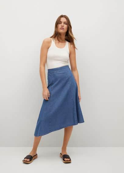 Джинсовая юбка с асимметричным низом - Gaia-h