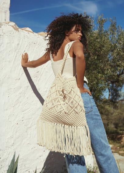 Ажурная вязаная сумка с бахромой - Formen