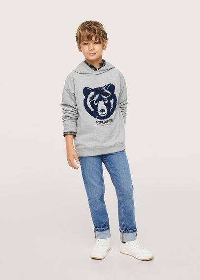 Bedrukt sweatshirt met textuurdetail