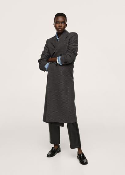 Длинное пальто в клетку, с шерстью - Sapiens
