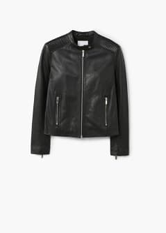 Quilted panel leather jacket - Woman | MANGO Mongolia : quilted panel - Adamdwight.com