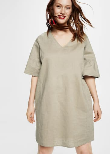 be40f352db Metallic trim linen dress