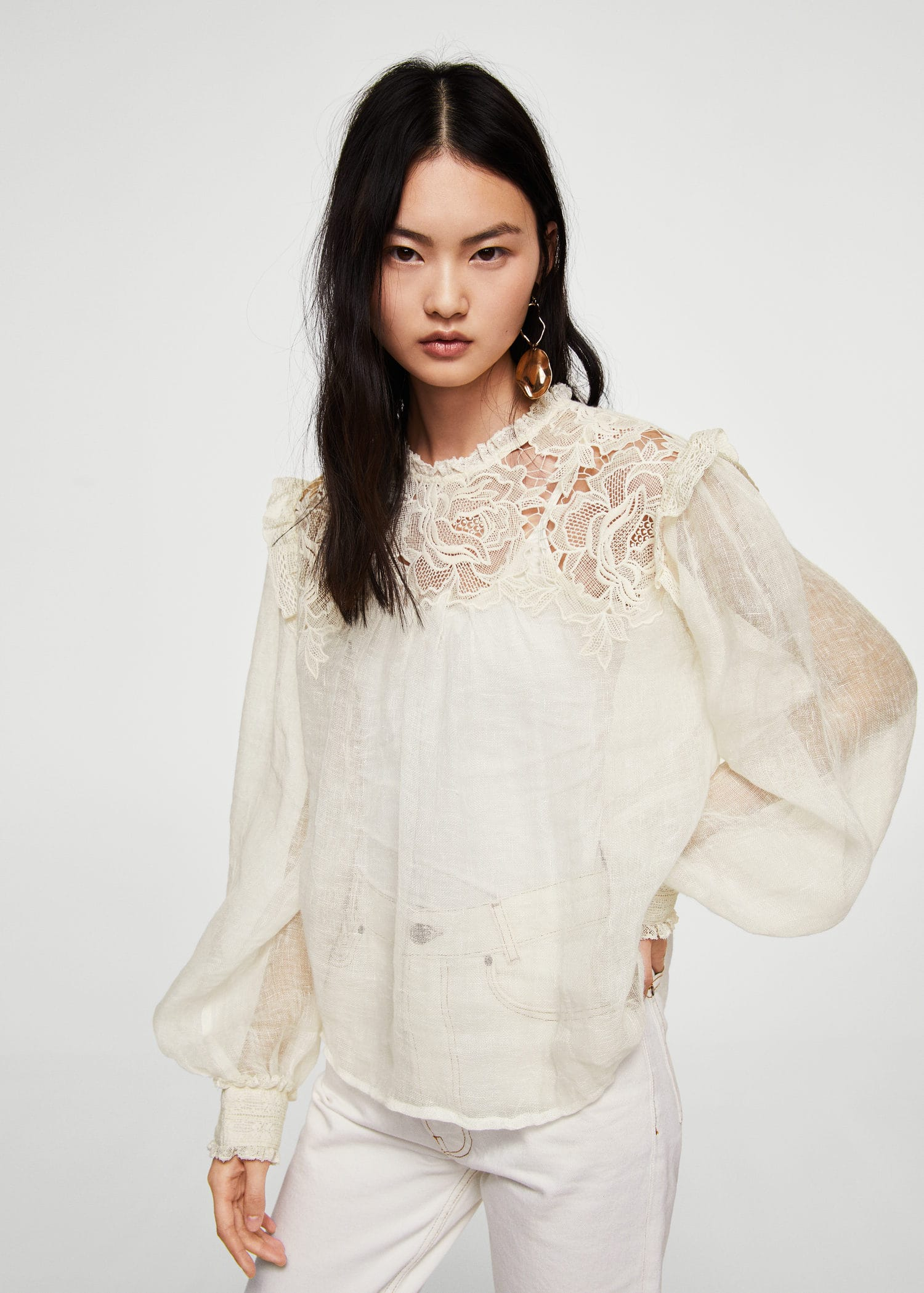Embroidered linen-blend blouse