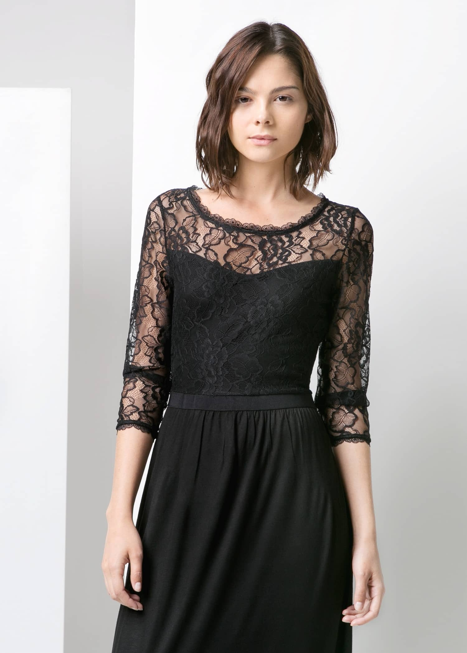 Lace top gown - Woman | Mango Latvia