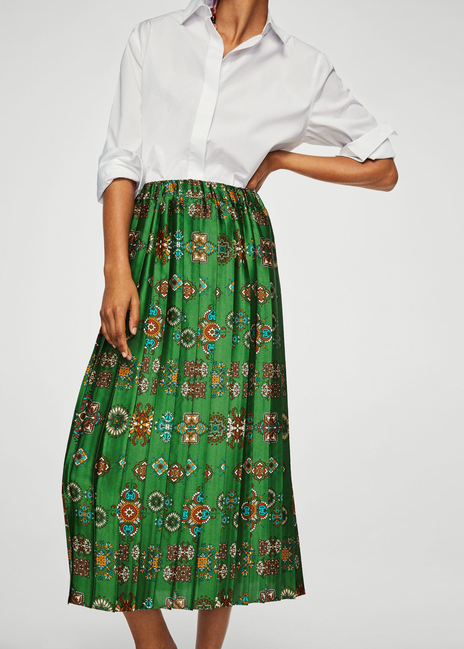 Printed Pleated Skirt by Mango