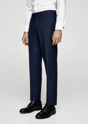 51f65bfb57b Slim-fit check suit trousers - Man