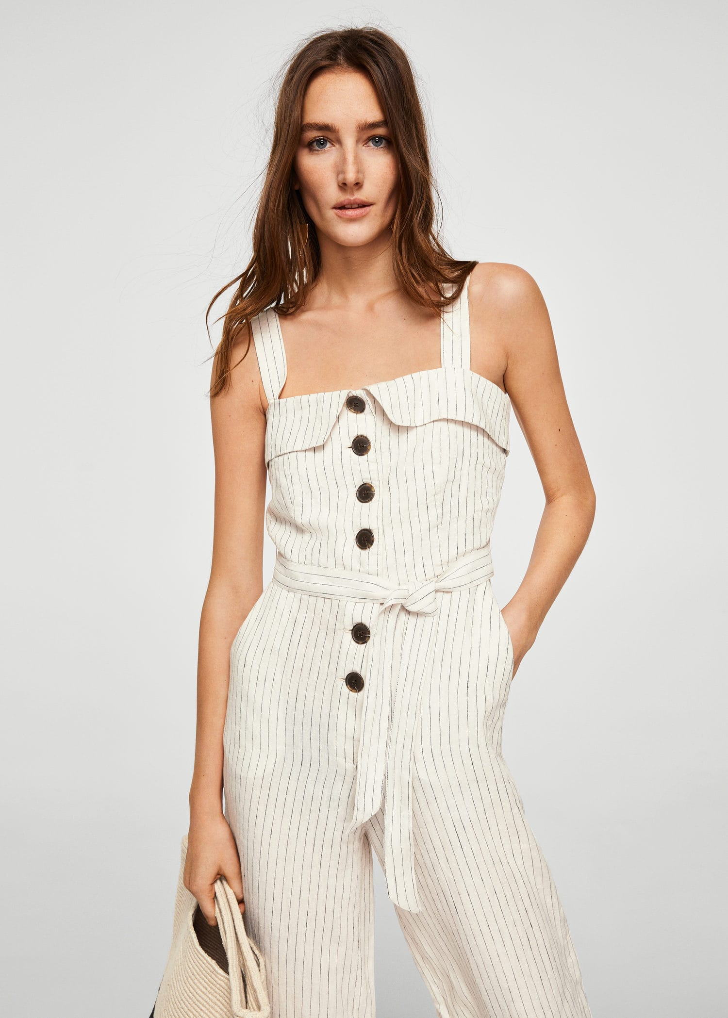 Linen-blend striped jumpsuit
