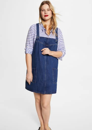 Medium denim pinafore dress - Plus sizes | Violeta by Mango USA