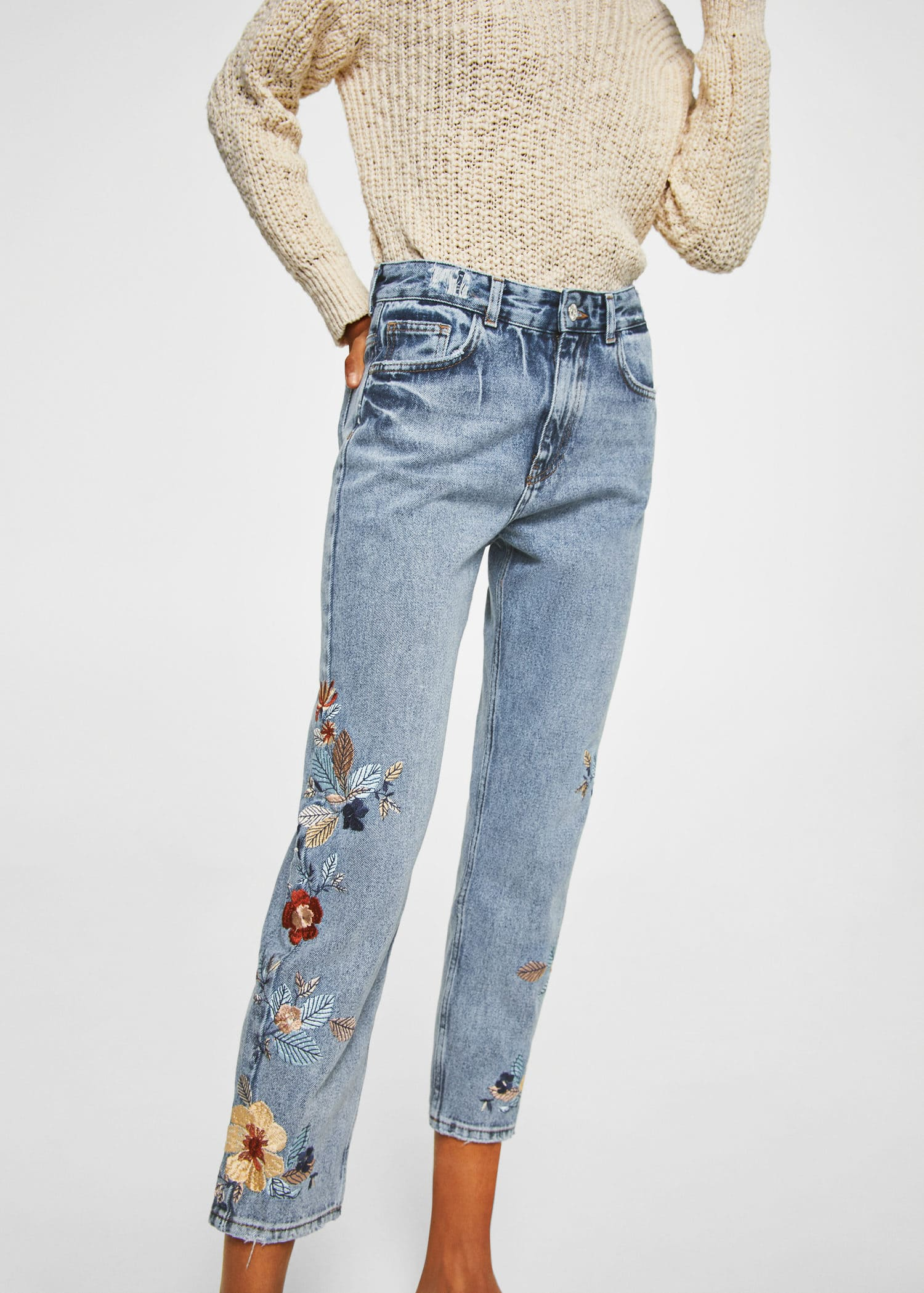Jeans Relaxed Bordados by Mango