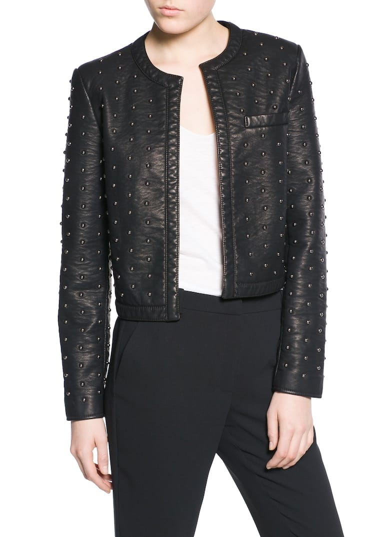 distressed stud look zipper f leather and blockout textured detail jacket