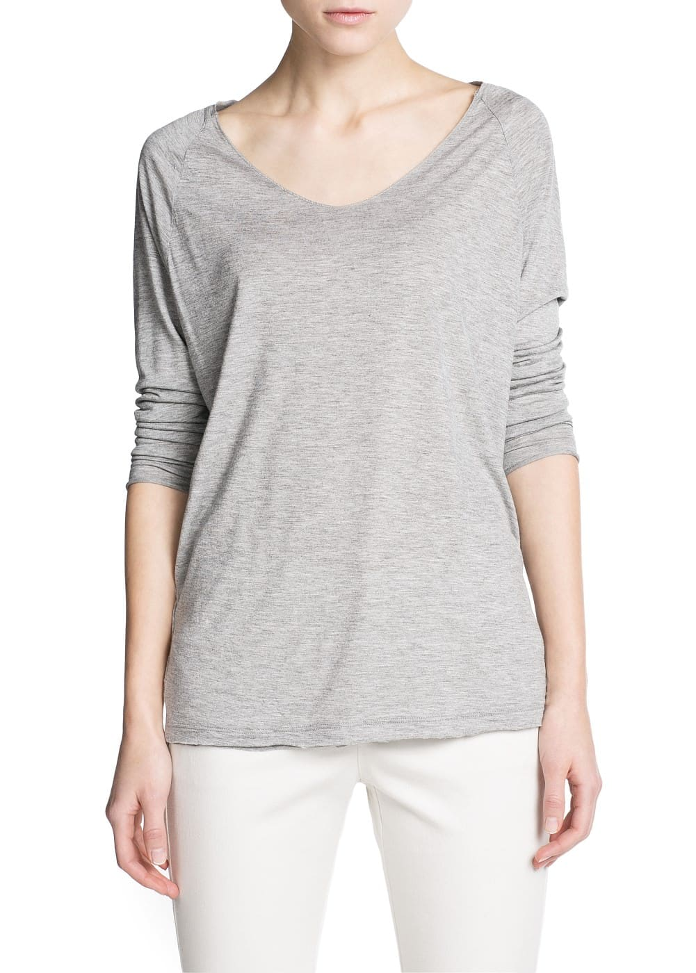 Raw edge flowy t-shirt | MANGO