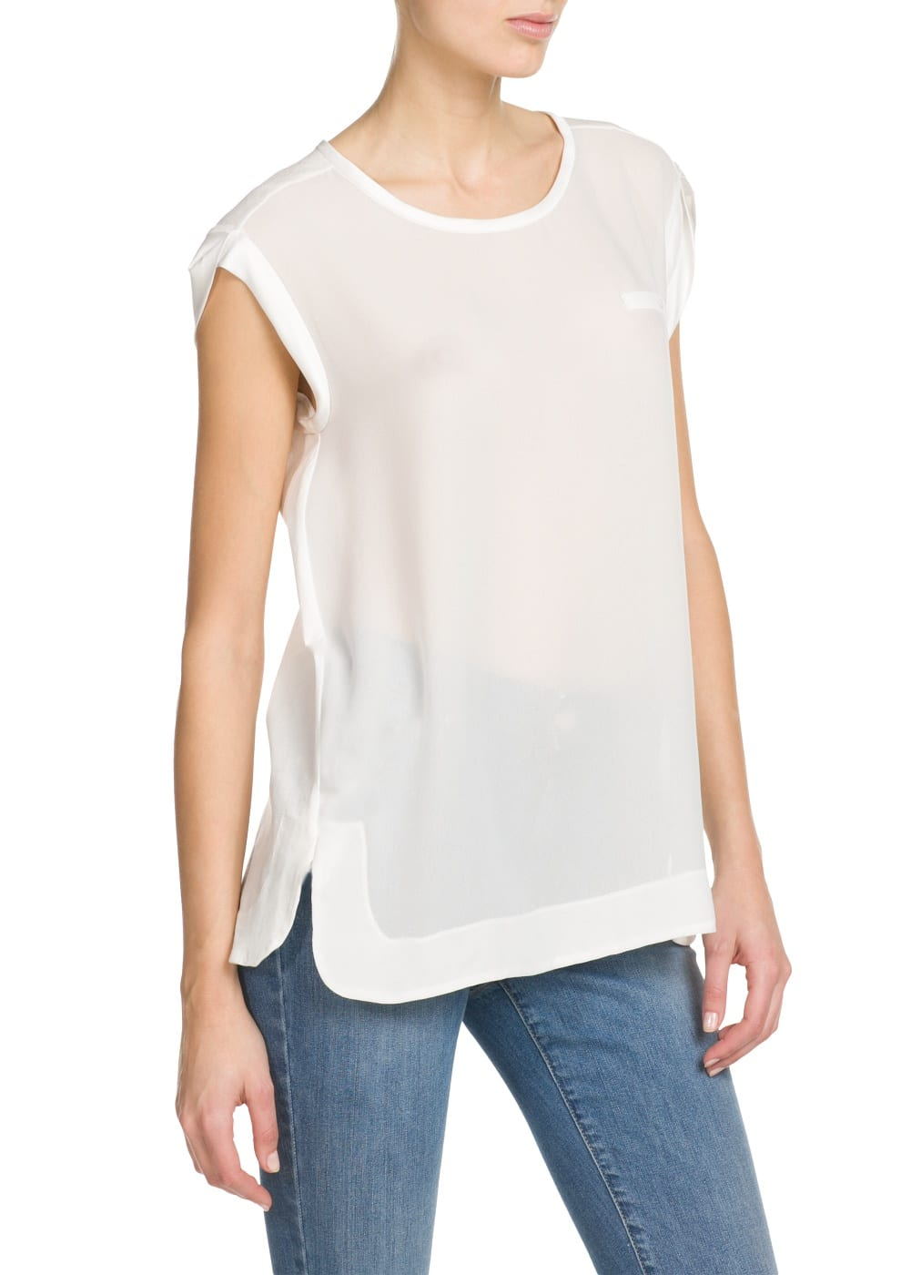 Satin appliqué t-shirt | MANGO