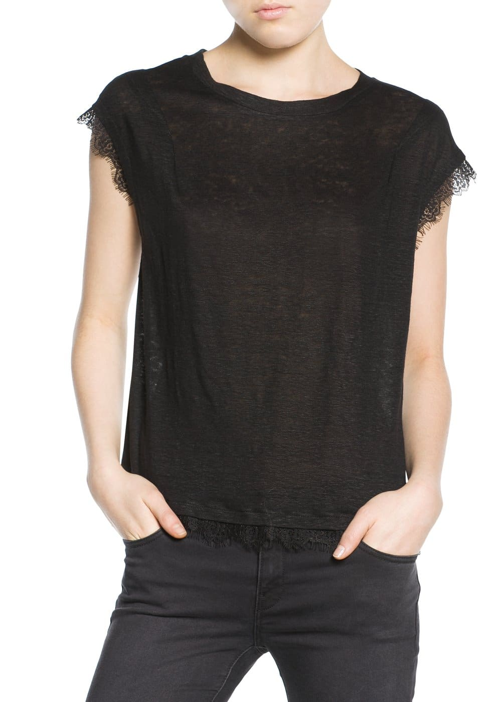 Lace trim t-shirt | MANGO