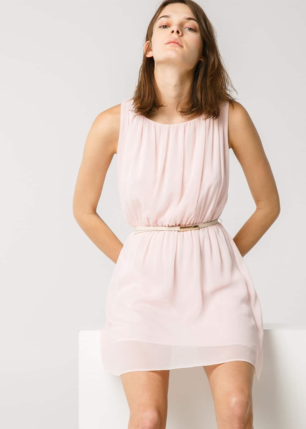 Pleated flowy dress | MANGO