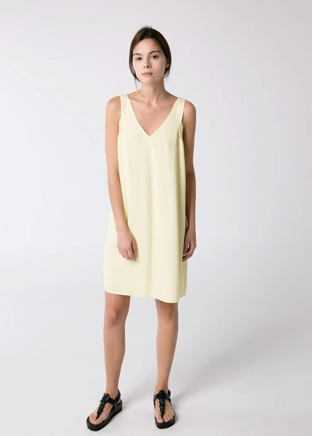 Strap crepe dress | MANGO