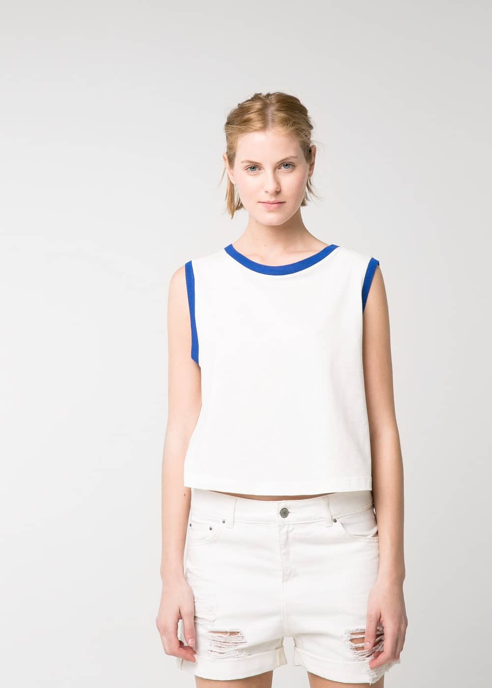 Cotton cropped top | MANGO