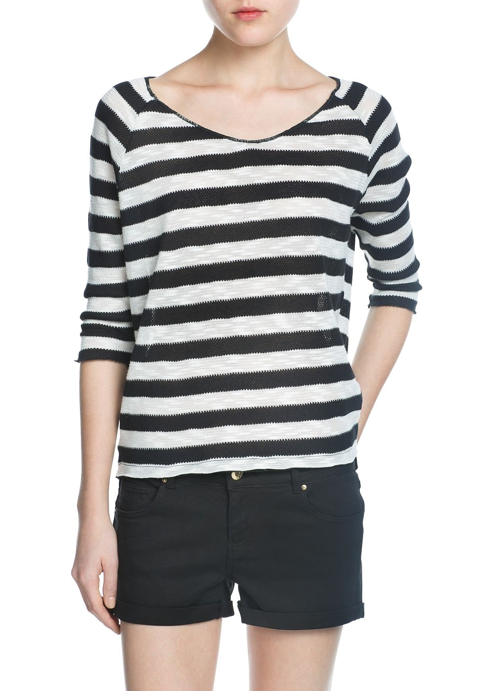Striped openknit t-shirt | MANGO
