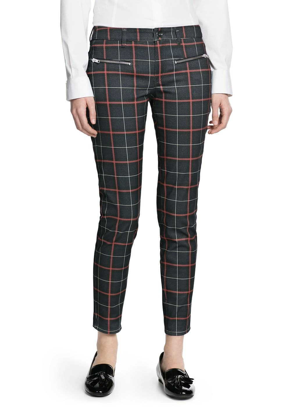 Zip check trousers | MANGO