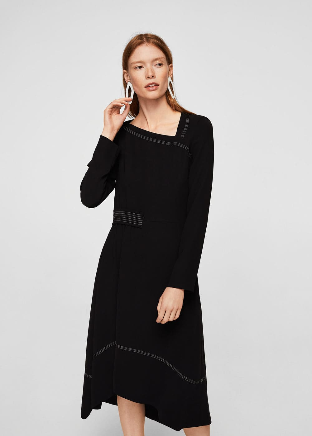 Contrast seam dress | MANGO