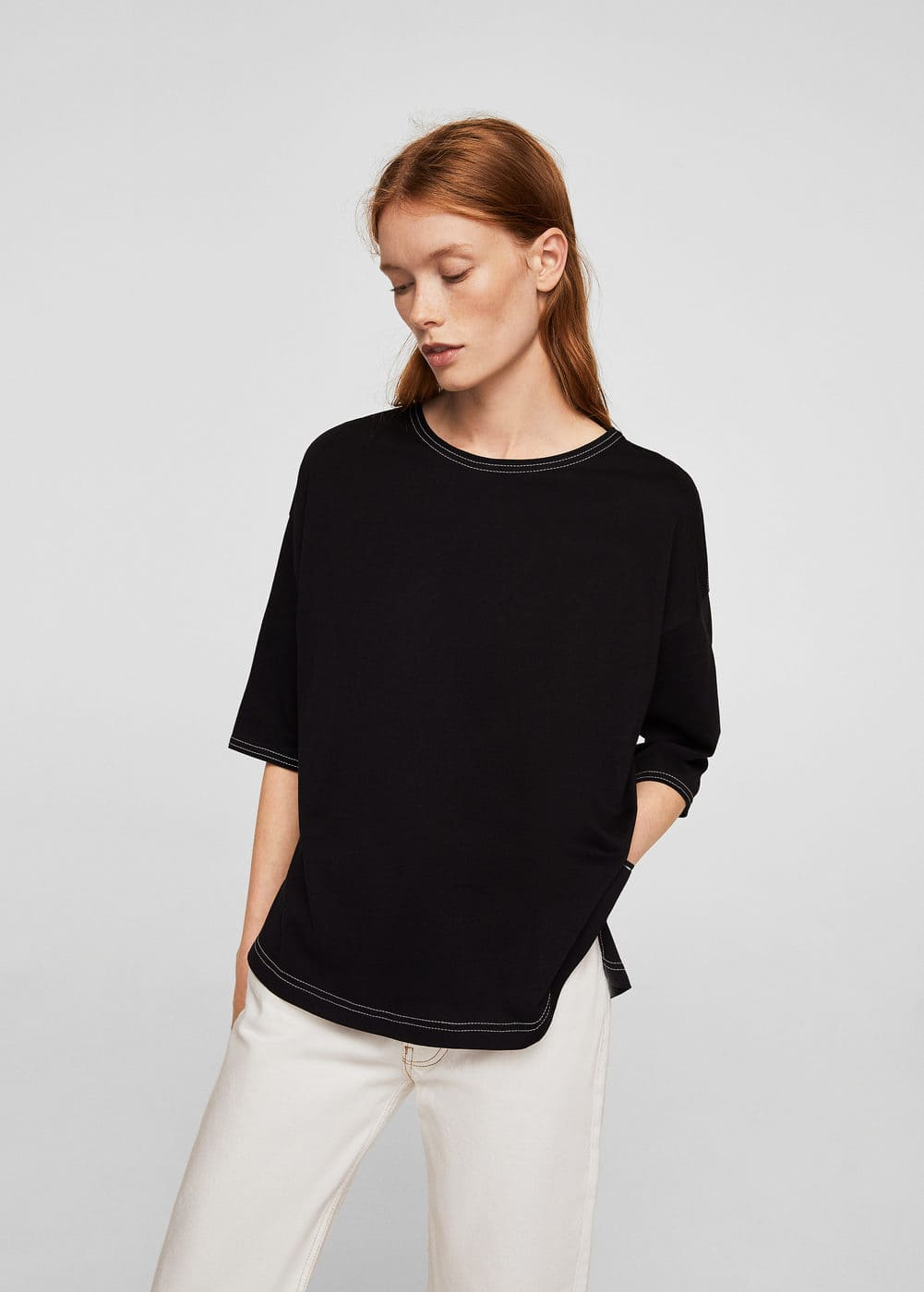 Seamed mercerised t-shirt | MANGO