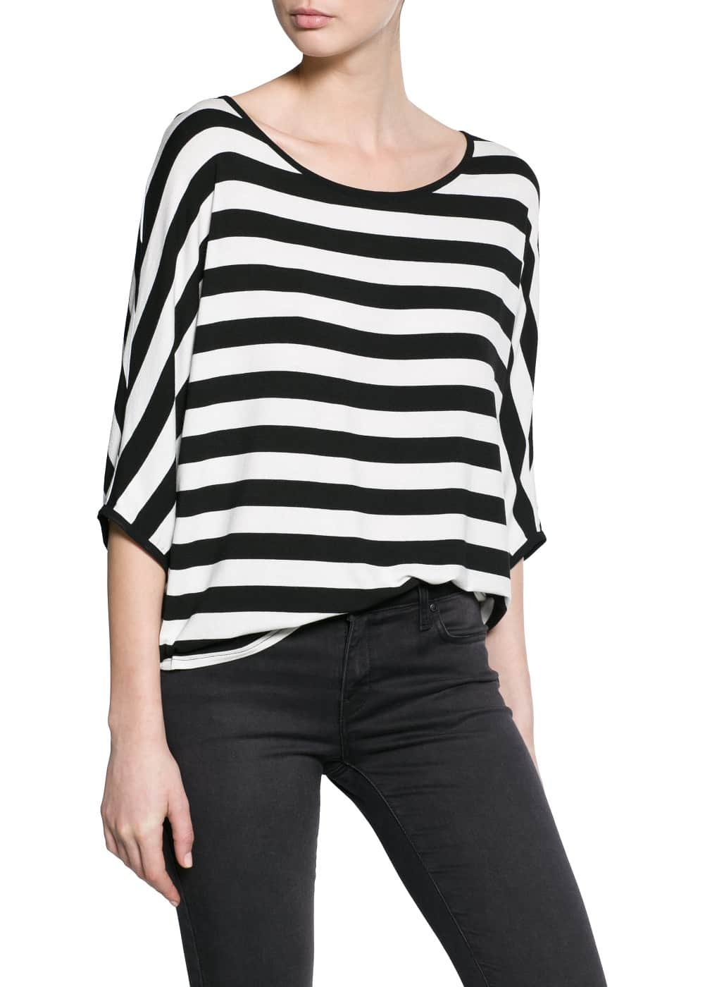 Striped monochrome t-shirt | MANGO