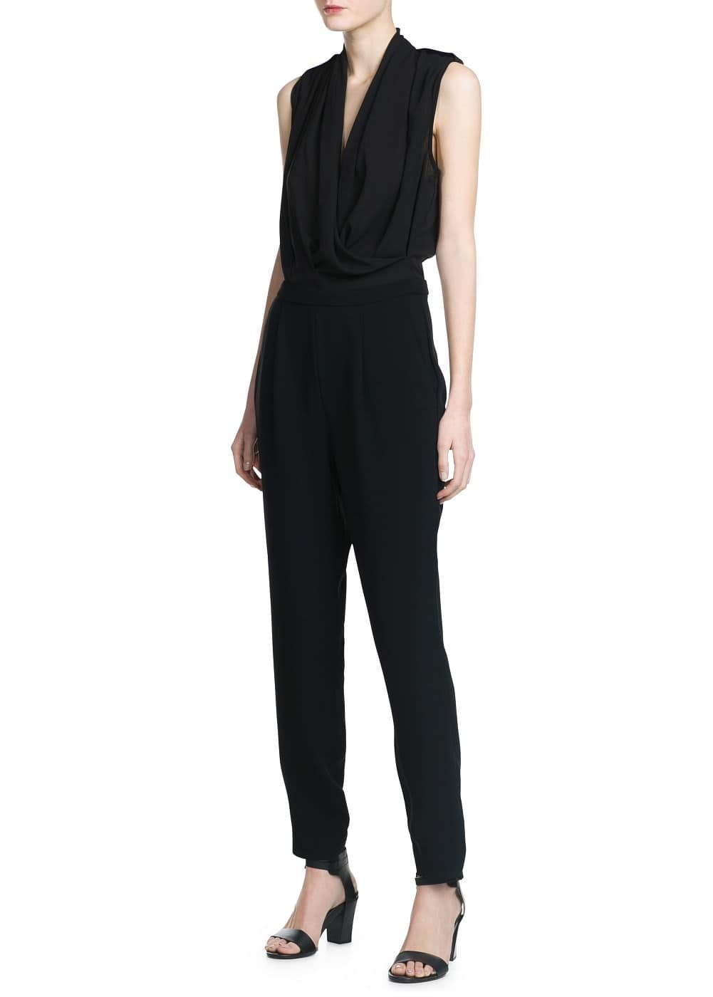 Draped neckline jumpsuit | MANGO