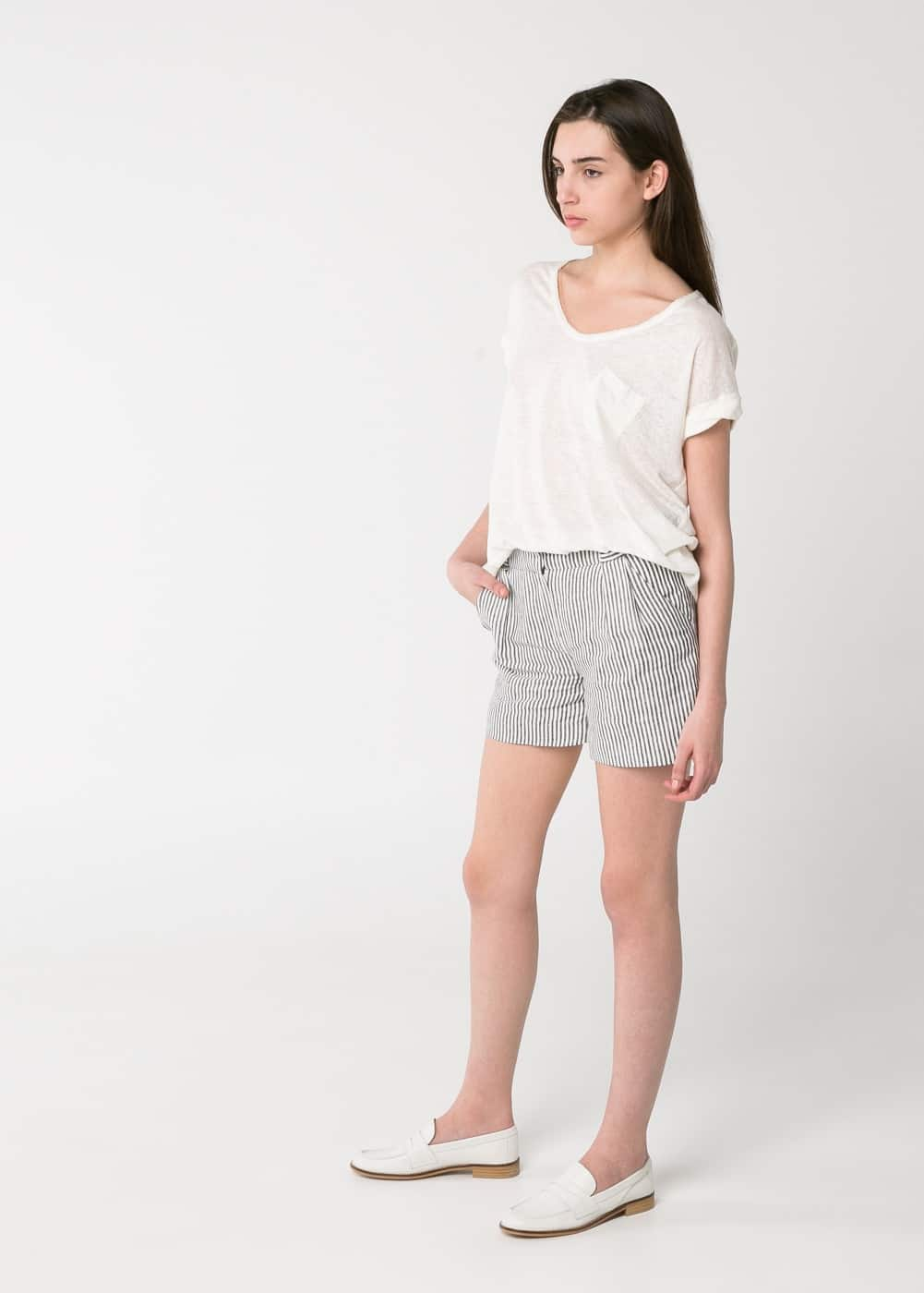 Striped linen shorts | MANGO