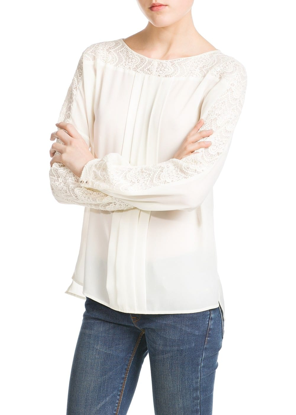 Guipure panel blouse | MANGO