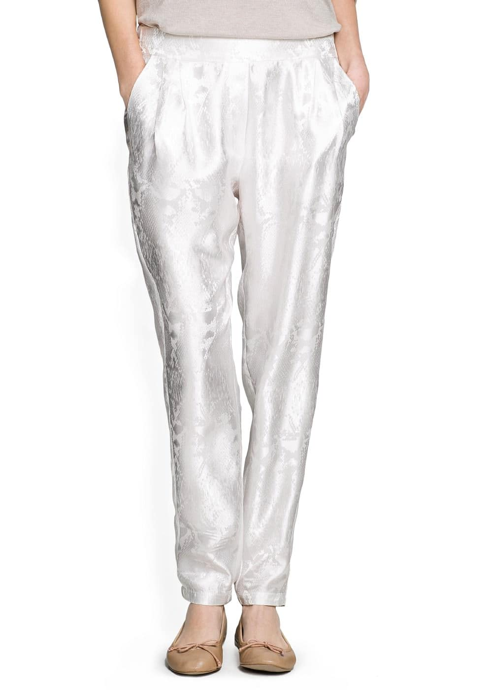 Snake satin baggy trousers | MANGO