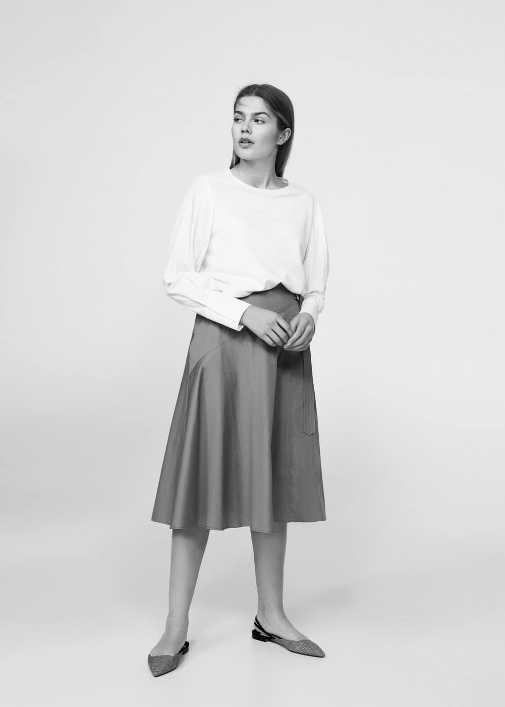 Buckle cotton skirt | VIOLETA BY MANGO