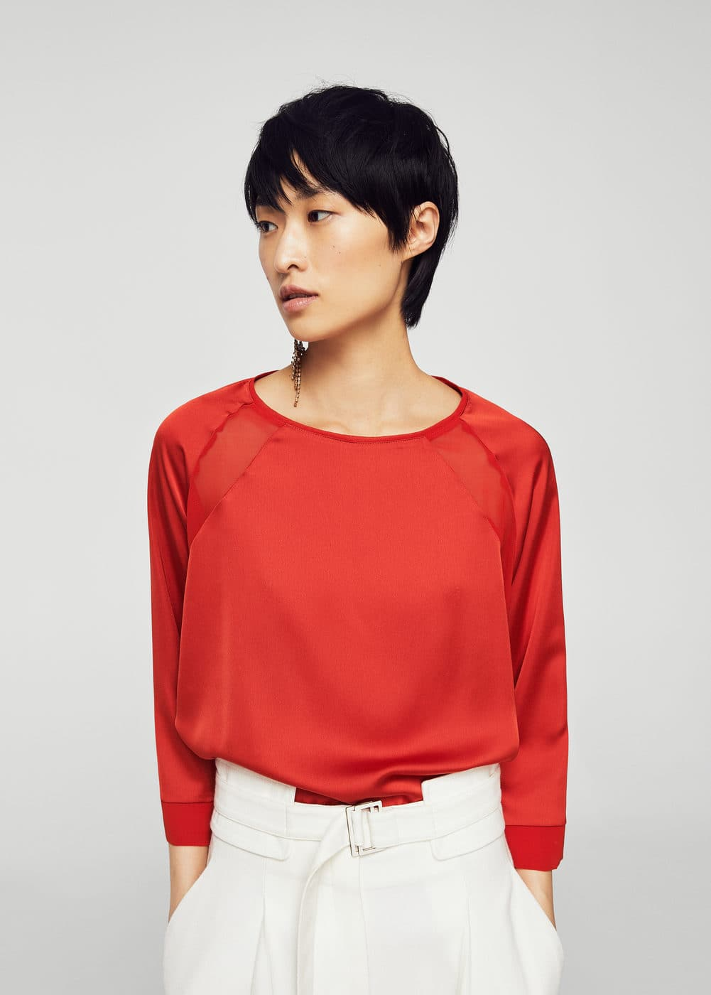 Flowy panel t-shirt | MANGO