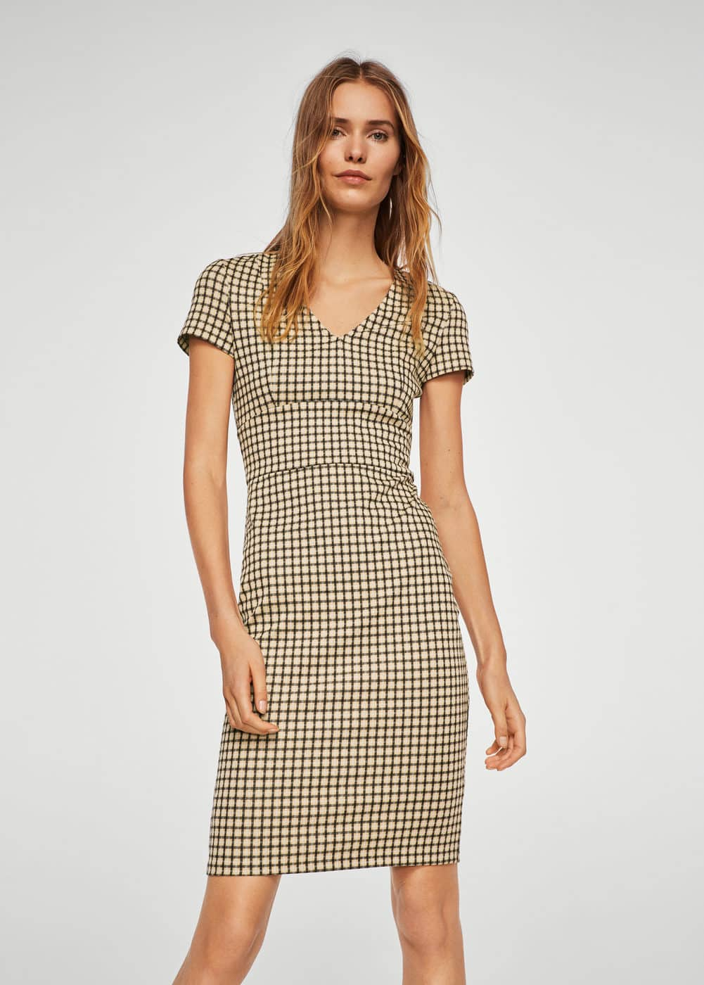 Check pattern midi dress | MANGO