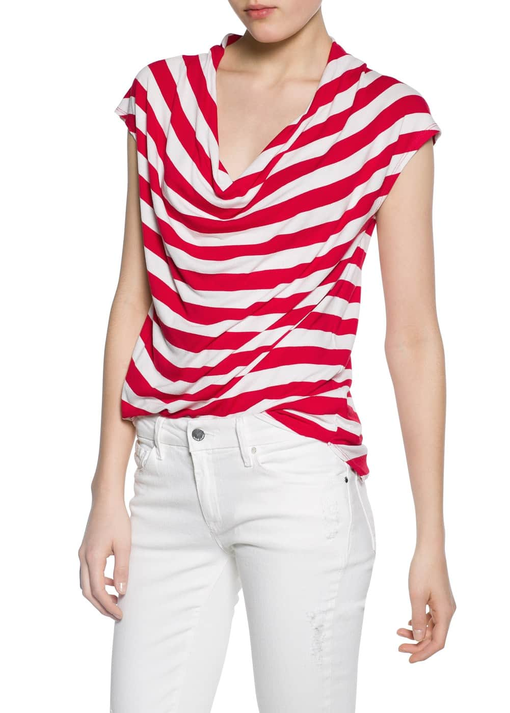 Striped draped t-shirt | MANGO