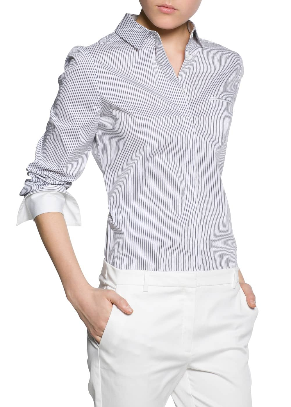 Striped fitted shirt | MANGO