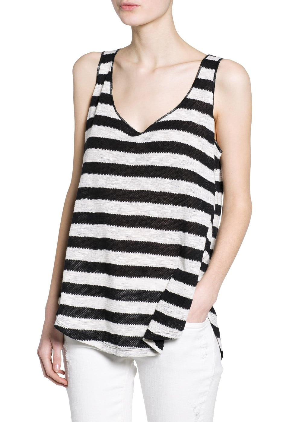 Striped open-knit top | MANGO