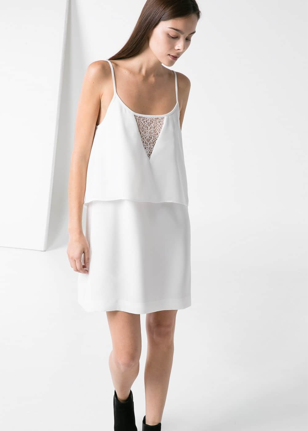 Openwork appliqué dress | MANGO