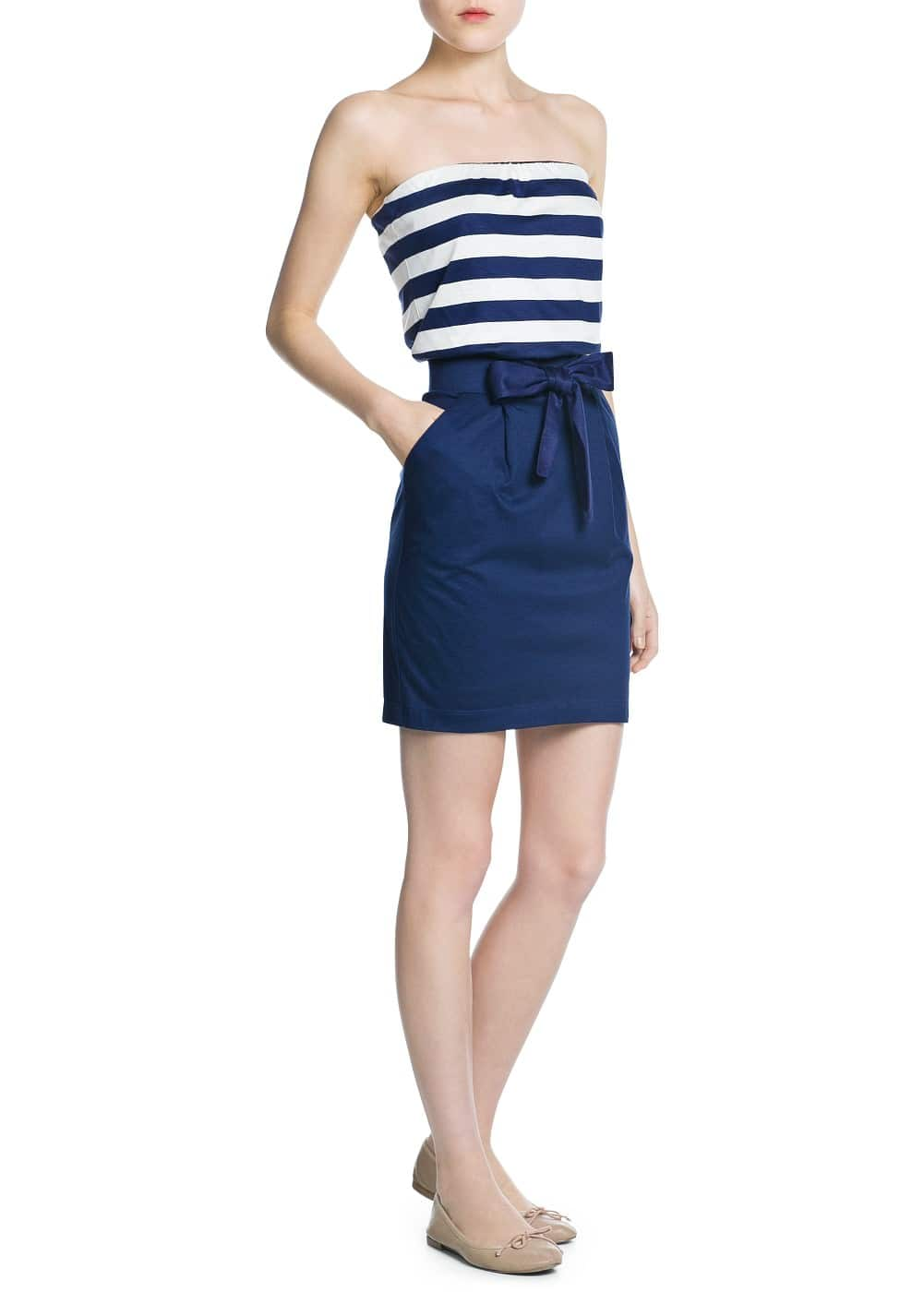 Navy combi dress | MANGO