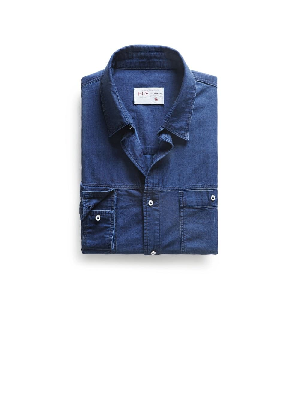 Classic-fit ink denim shirt | MANGO MAN