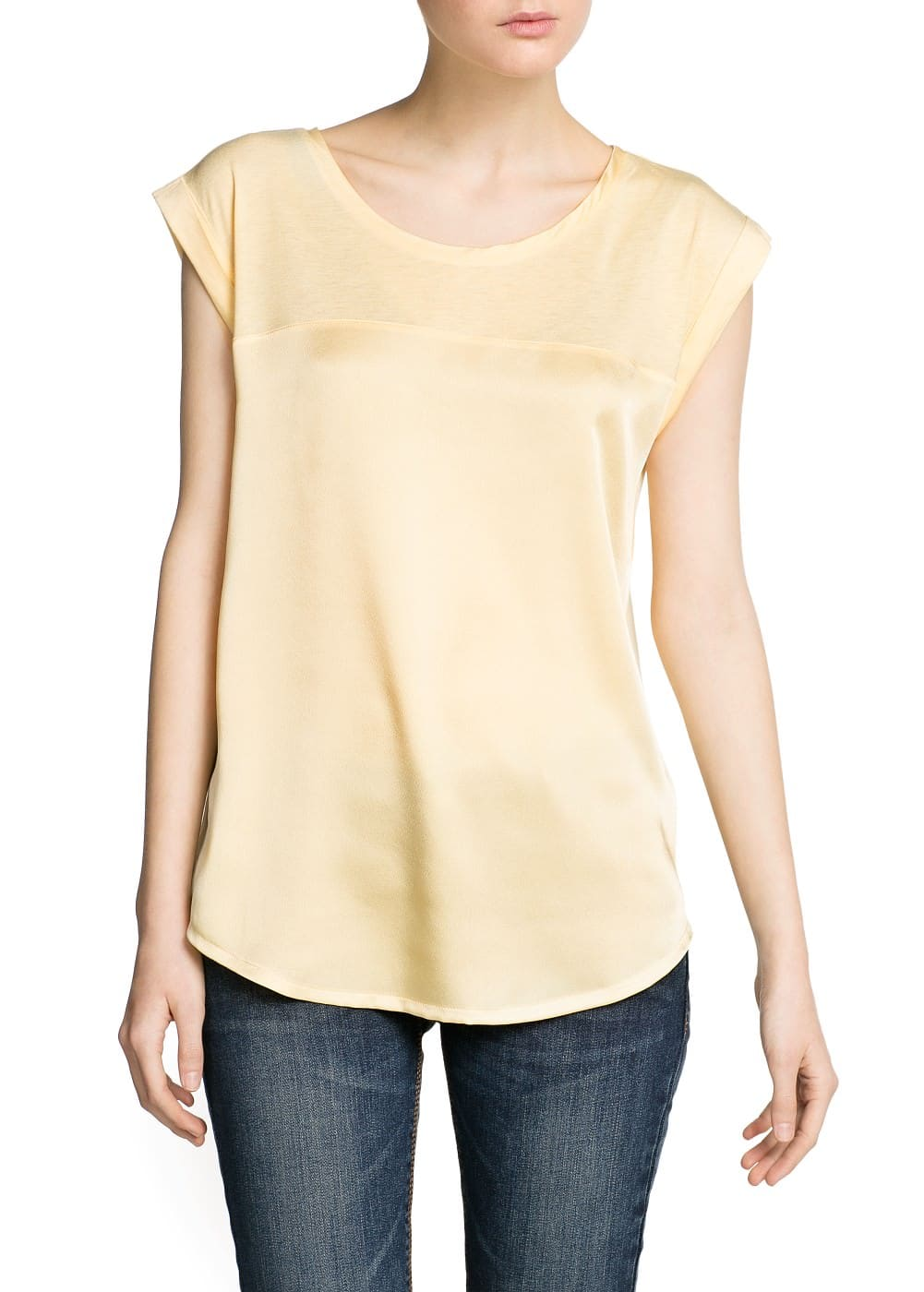 Satin panel lightweight t-shirt | MANGO