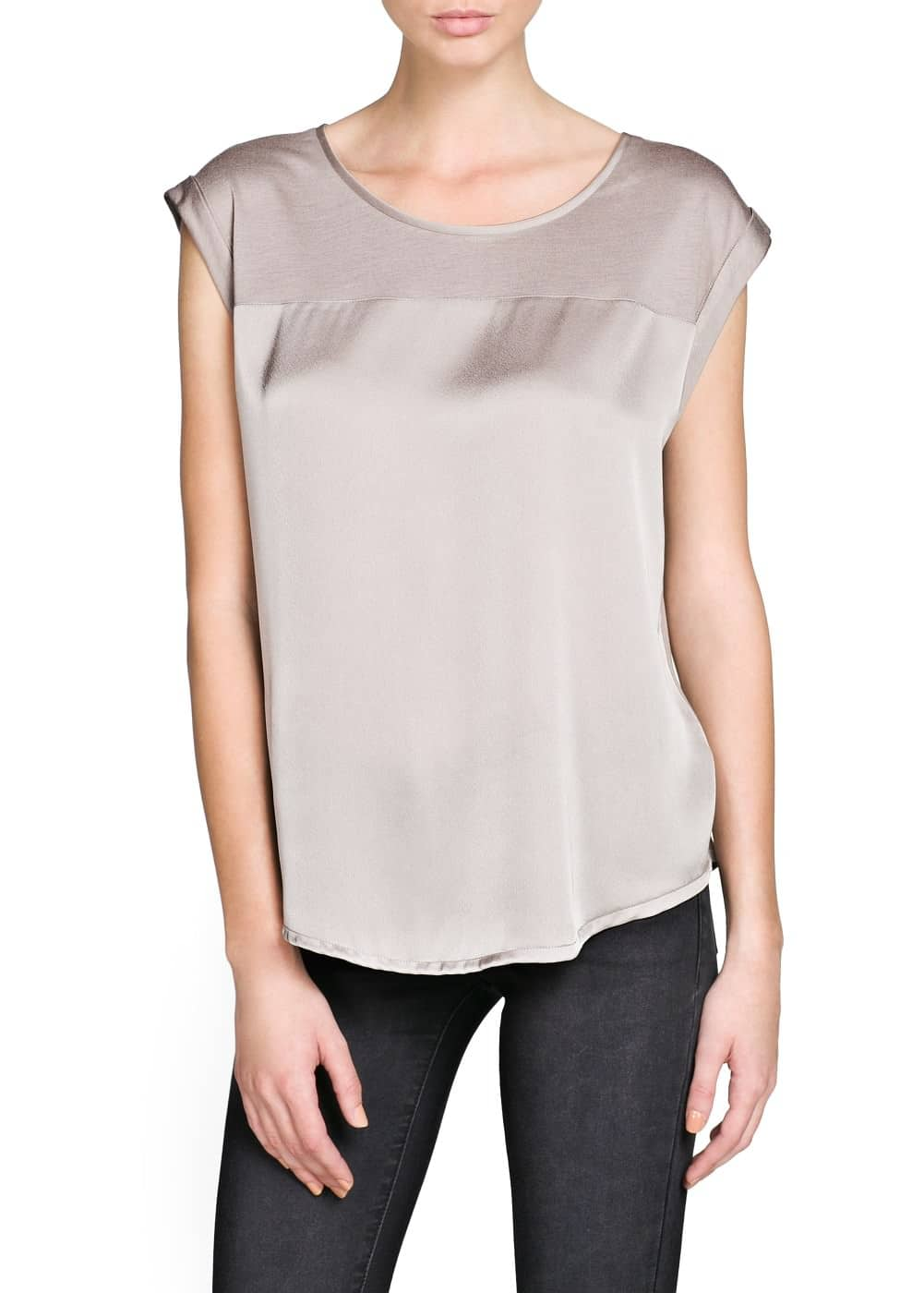 Camiseta ligera panel satinado | MANGO