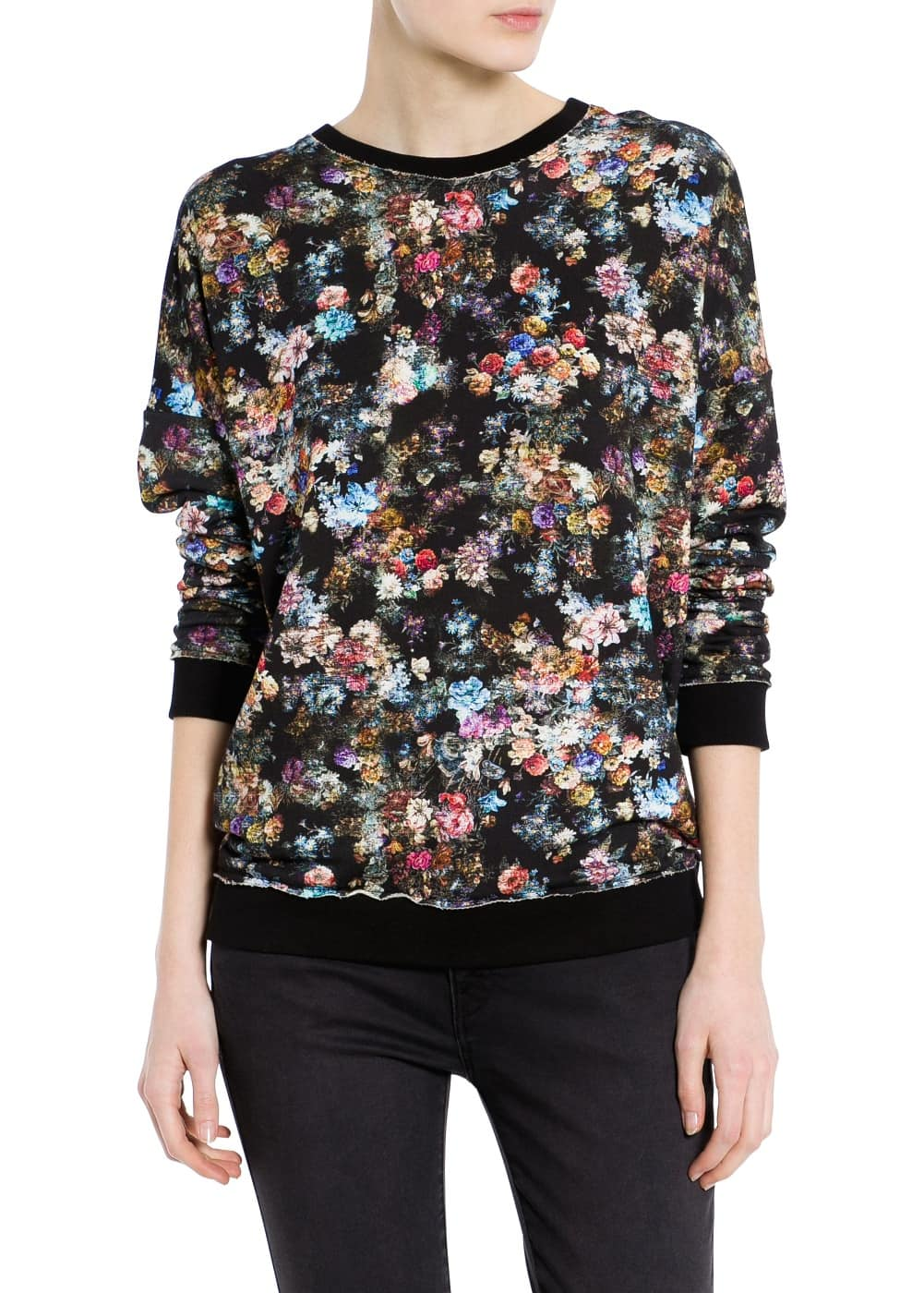 Distressed floral sweatshirt | MANGO