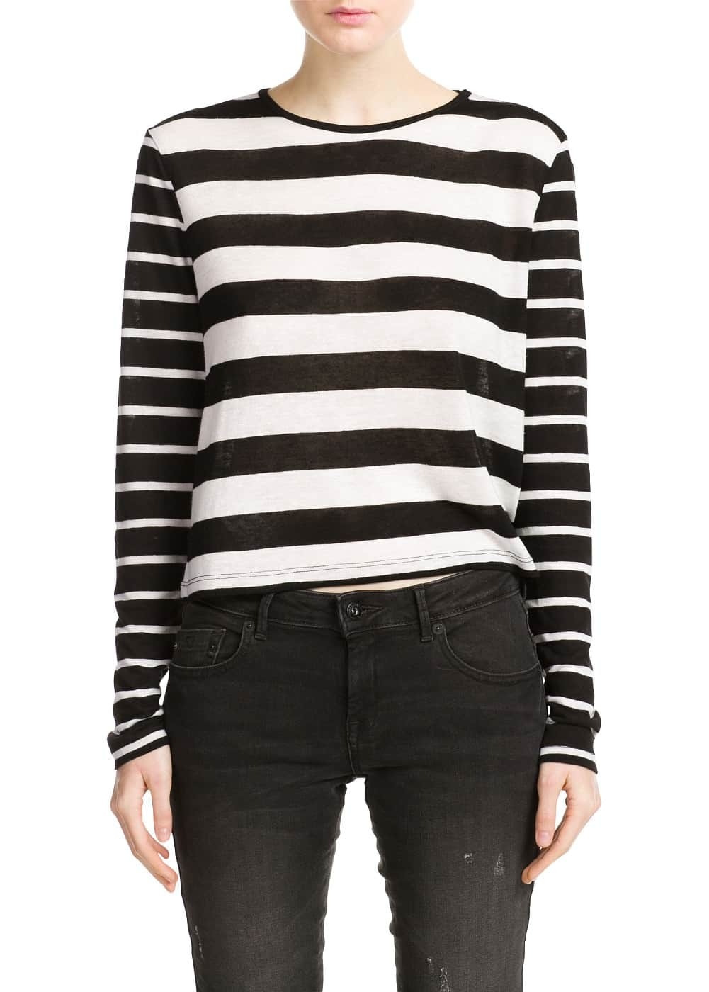 Monochrome striped t-shirt | MANGO
