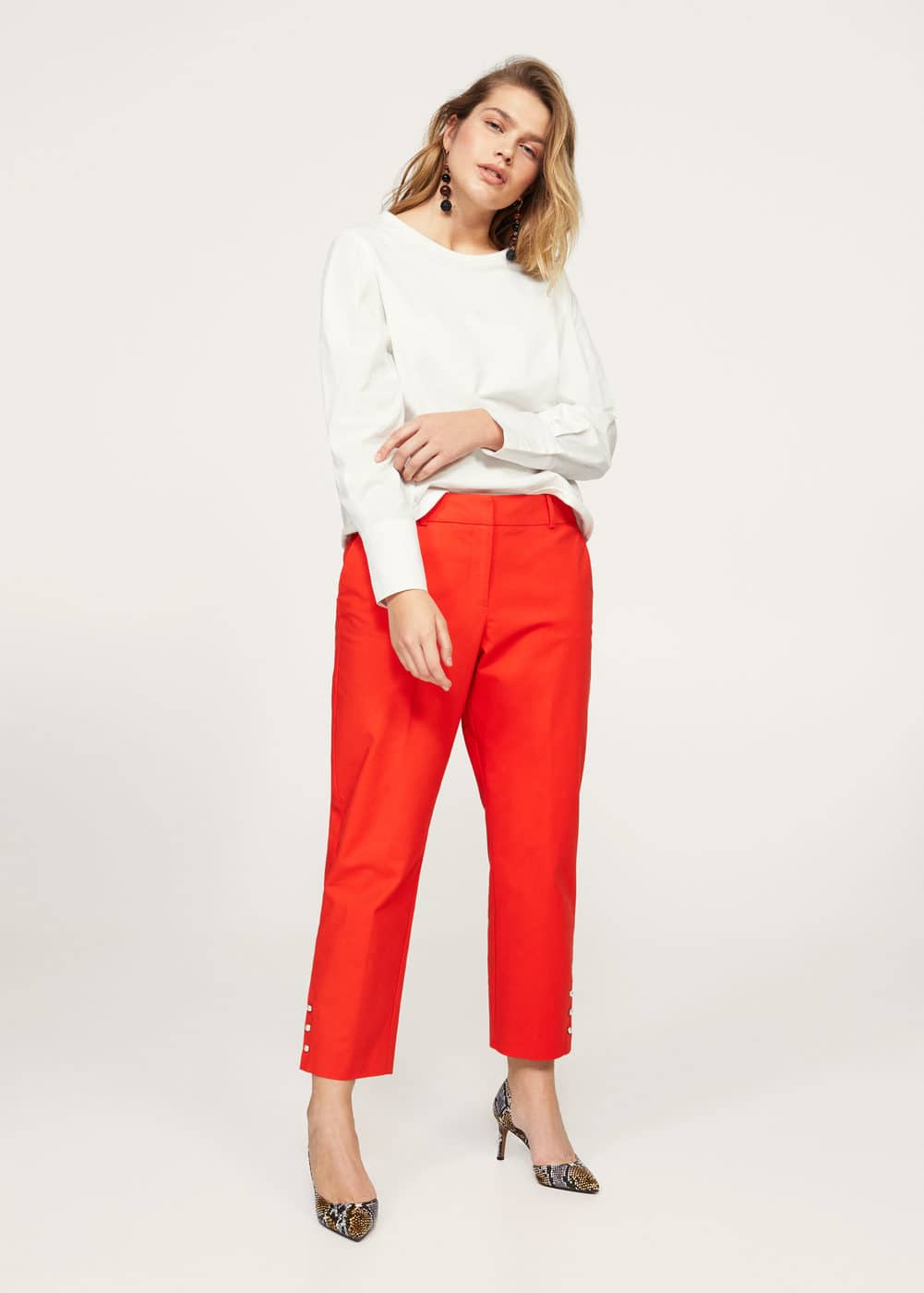 Cropped button pants | MANGO