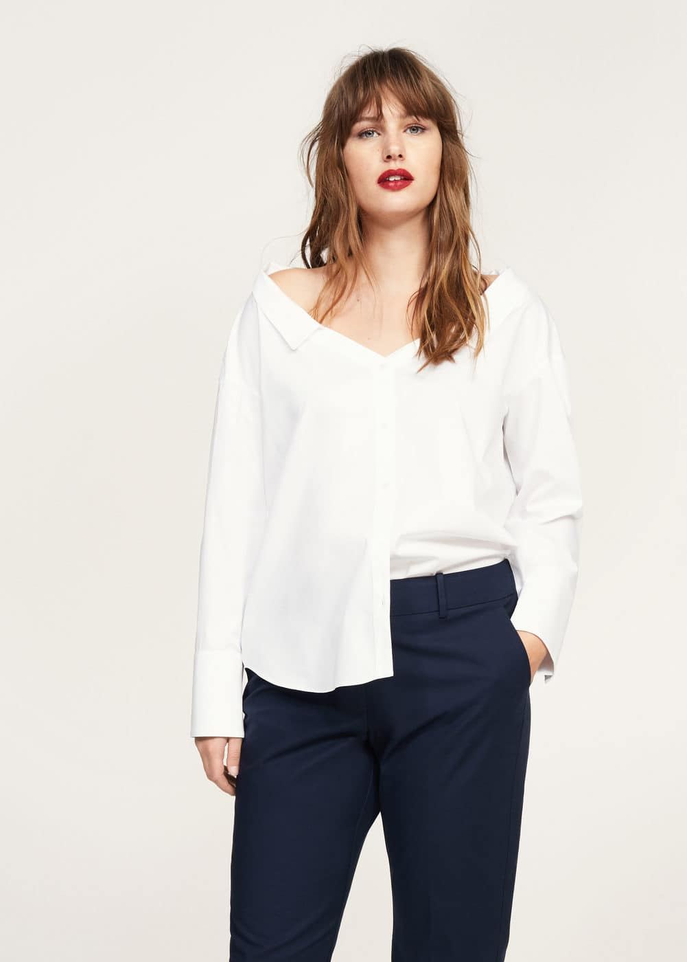 Cropped button pants | VIOLETA BY MANGO