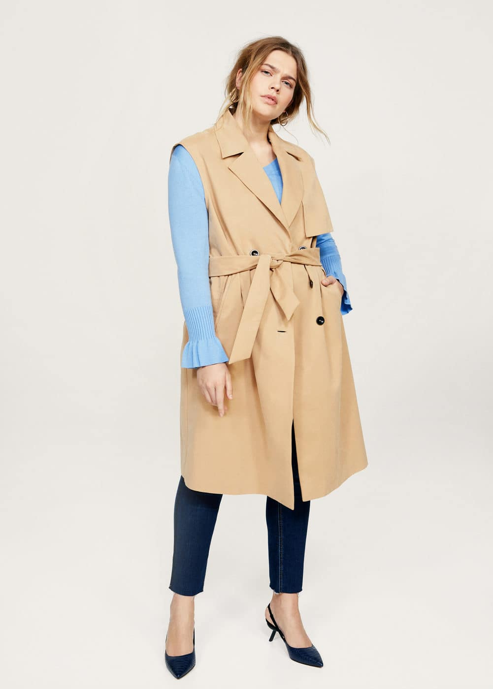 Buttons trench waistcoat  | VIOLETA BY MANGO