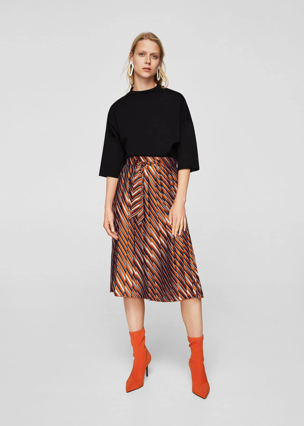 Stripes pleated skirt | MANGO