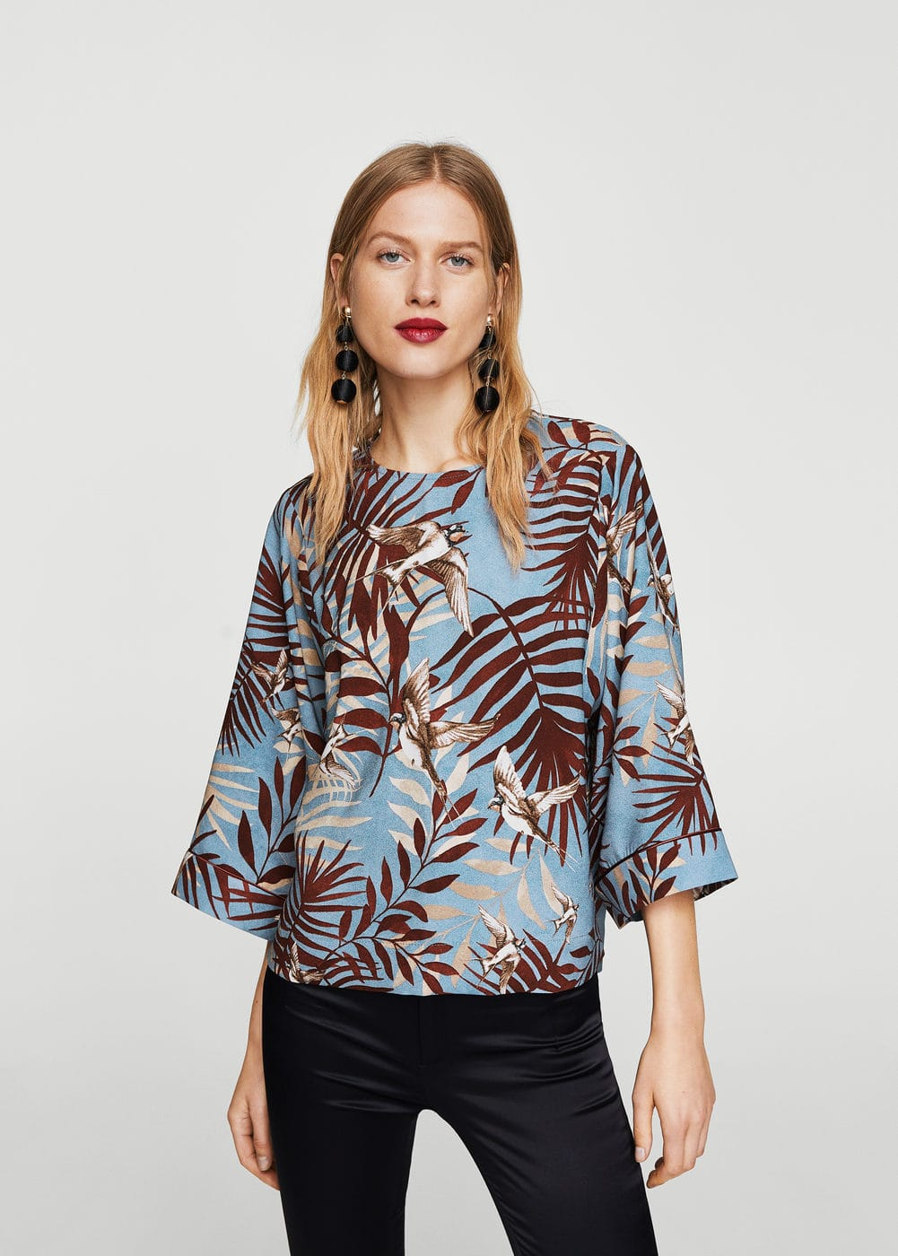 Contrasting print blouse | MANGO
