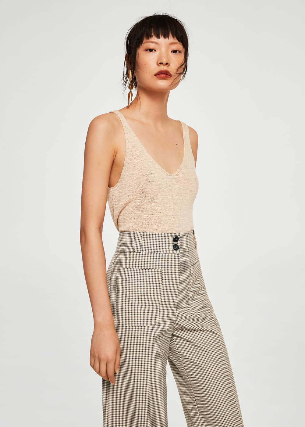 Check cropped trousers | MANGO