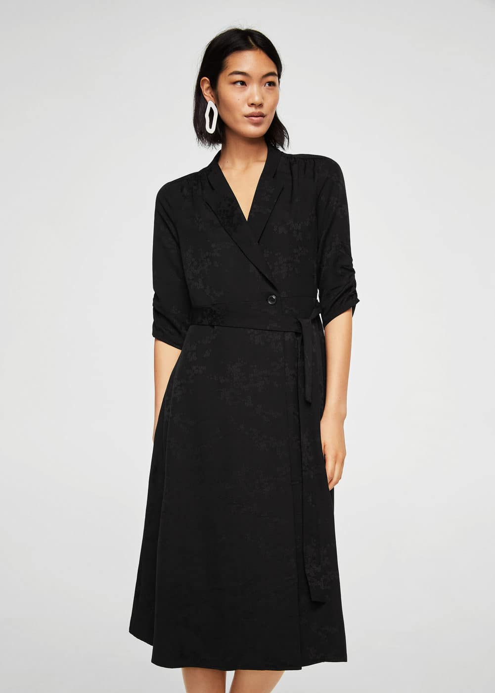 Jacquard wrap dress | MANGO