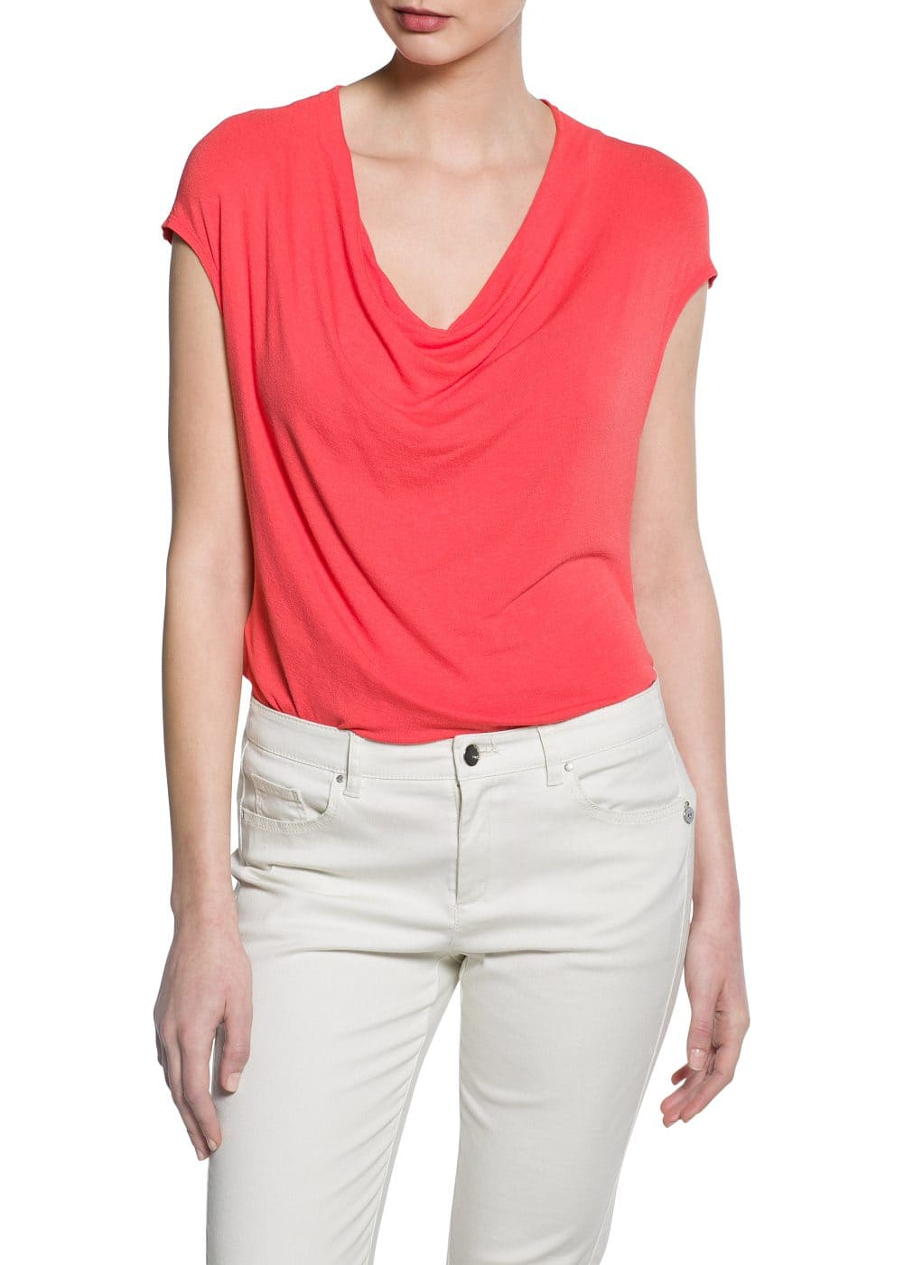 Draped t-shirt | MANGO